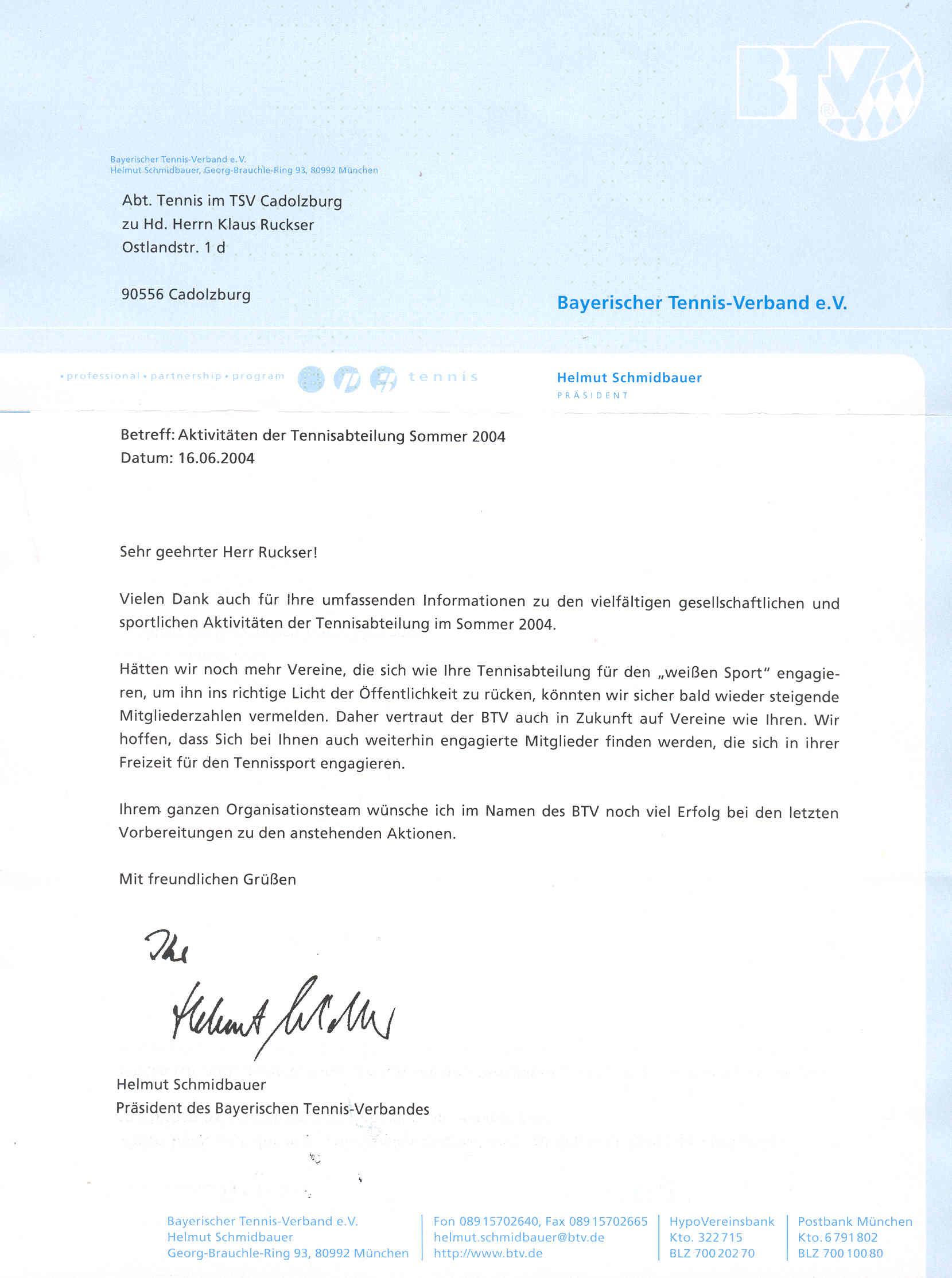 Tennisabteilung des TSV Cadolzburg e.V. - Berichte
